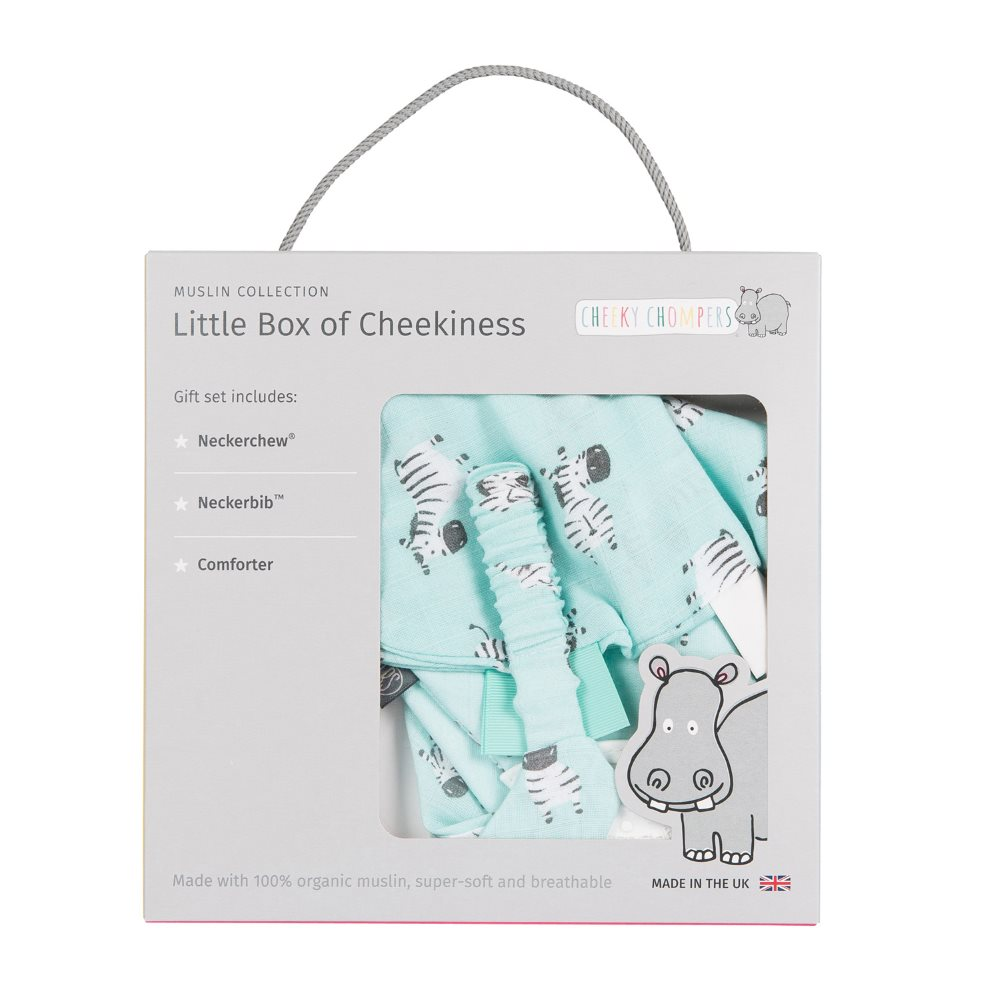 Muslin - gift box - Cheeky Chompers - Zebra 1