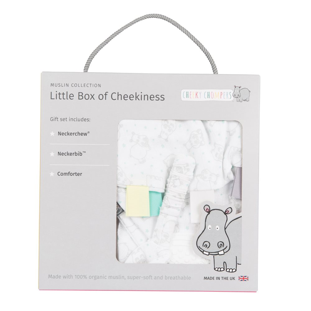 Muslin - gift box - Cheeky Chompers - Hippo 1