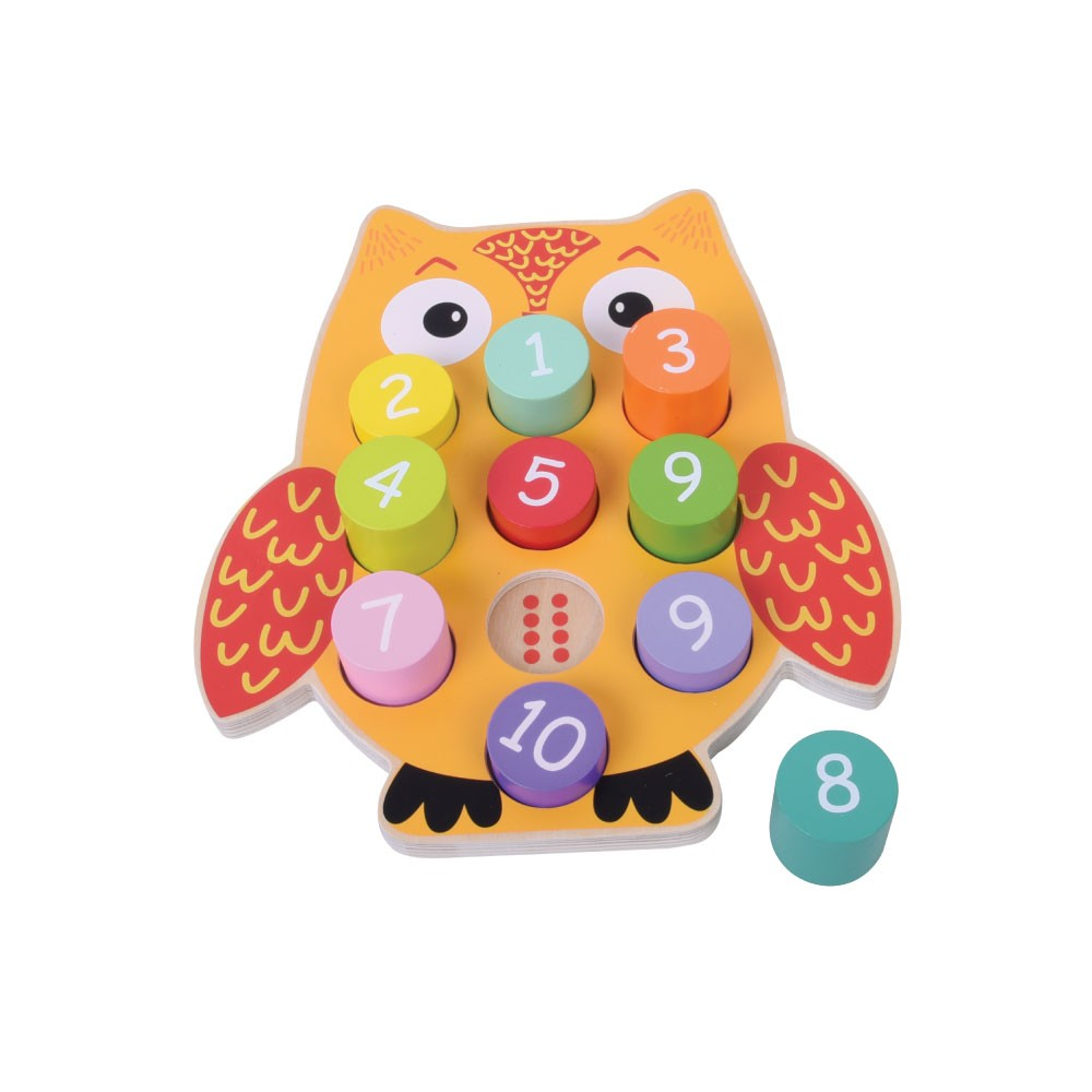 Owl blocks numbers wooden puzzle 1