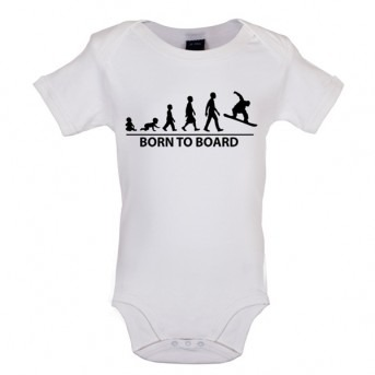 Born To Board - Baby and Toddler Bodysuit - White
