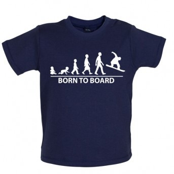 Born To Board - Baby and Toddler T-shirt - Navy