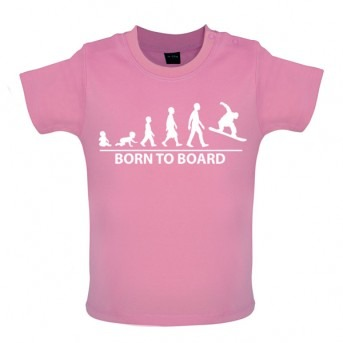 Born To Board - Baby and Toddler T-shirt - Pink