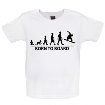 Born To Board - Baby and Toddler T-shirt - White