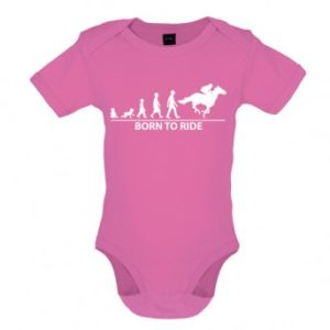 Born To Horseride - Baby and Toddler Bodysuit - Pink