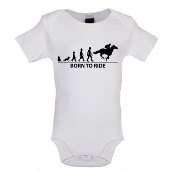 Born To Horseride - Baby and Toddler Bodysuit - White