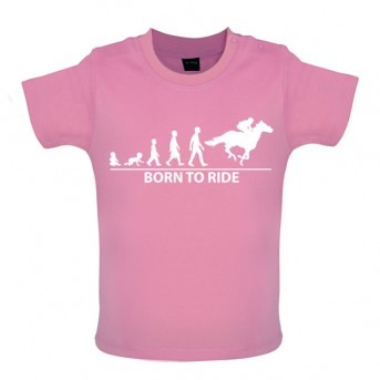 Born To Horseride - Baby and Toddler T-shirt - Pink