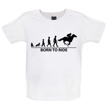 Born To Horseride - Baby and Toddler T-shirt - White