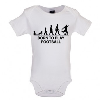 Born To Play Football - Baby and Toddler Bodysuit - White