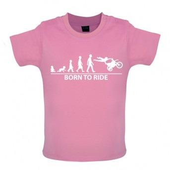Born To Ride - Baby and Toddler T-shirt - Pink