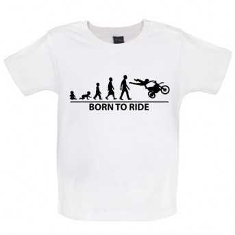 Born To Ride - Baby and Toddler T-shirt - White