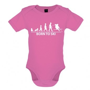 Born To Ski - Baby and Toddler Bodysuit - Pink