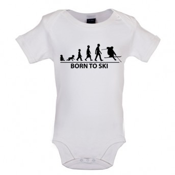 Born To Ski - Baby and Toddler Bodysuit - White