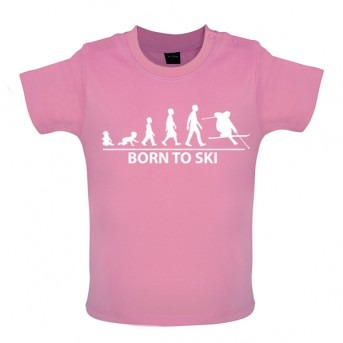 Born To Ski - Baby and Toddler T-shirt - Pink