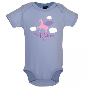 Fly with baby bodysuit blue