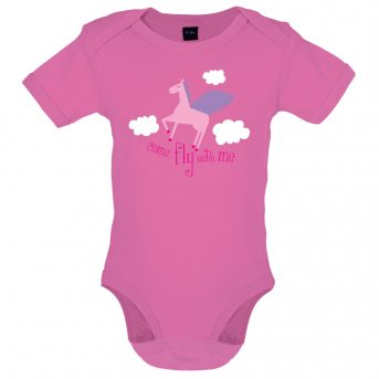 Fly with baby bodysuit pink
