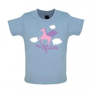 Fly with baby t-shirt blue