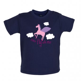 Fly with baby t-shirt navy