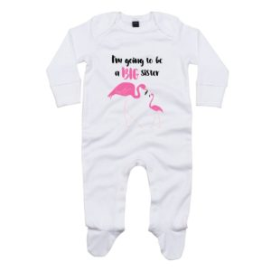 big sister flamingo baby sleepsuit