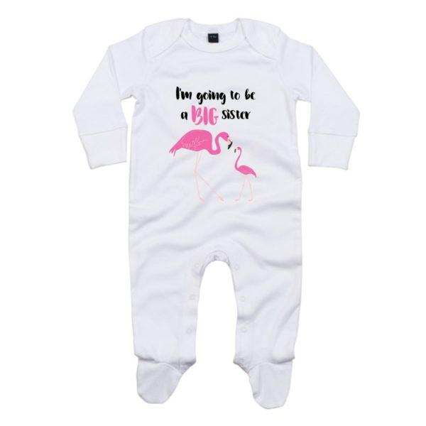 big sister flamingo baby sleepsuit