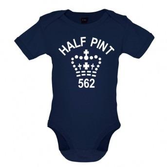 half pint baby bodysuit navy