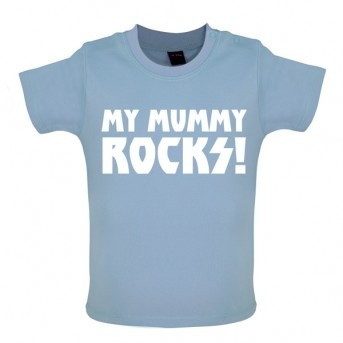 my mummy rocks baby and toddler t-shirt blue