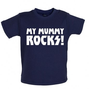 my mummy rocks baby and toddler t-shirt navy