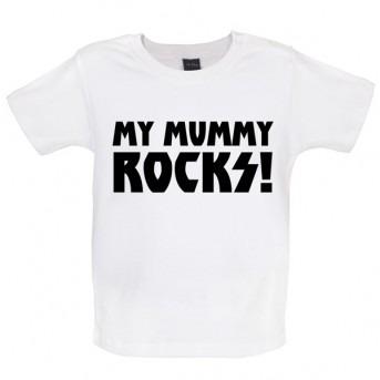 my mummy rocks baby and toddler t-shirt white