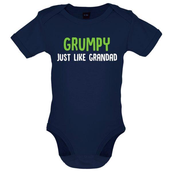 Grumpy like grandad baby bodysuit navy