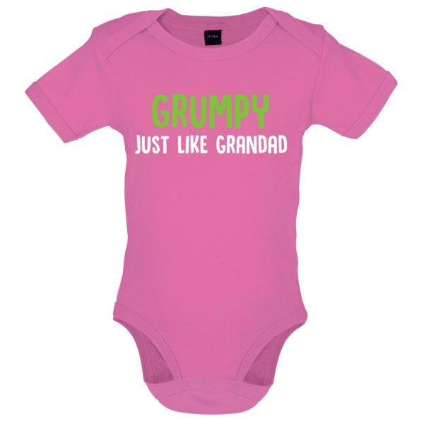 Grumpy like grandad baby bodysuit pink