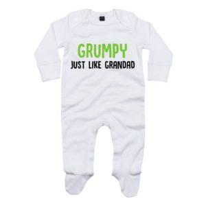 Grumpy like grandad baby sleepsuit