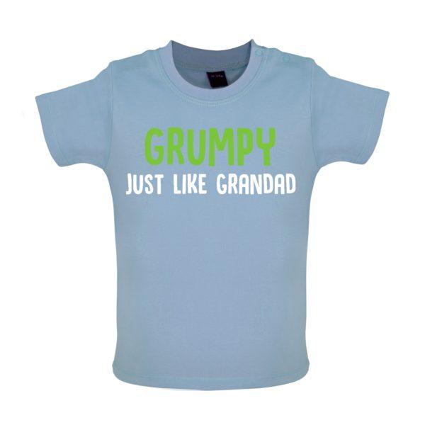 Grumpy like grandad baby tshirt blue