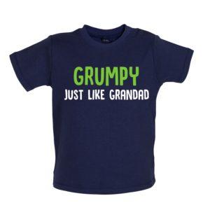 Grumpy like grandad baby tshirt navy