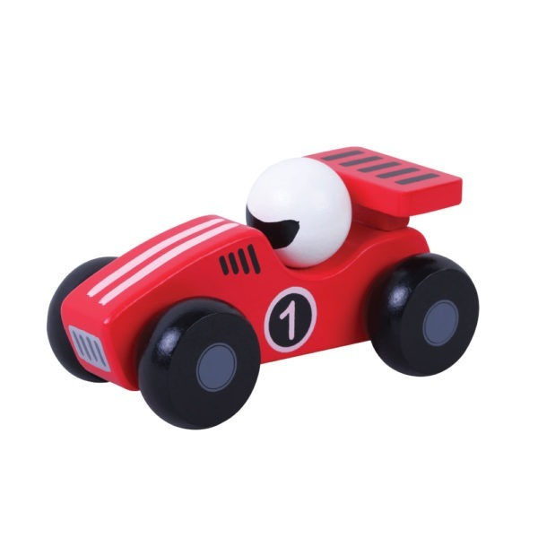 Red wooden toy racing car 1