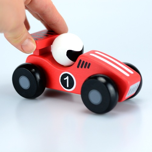 Red wooden toy racing car 3