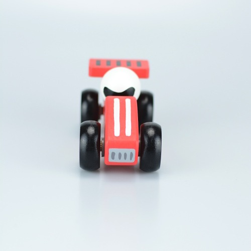 Red wooden toy racing car 4