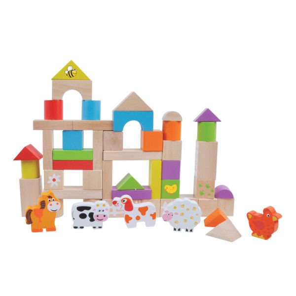 Wooden toy, 50pcs farm building blocks 1