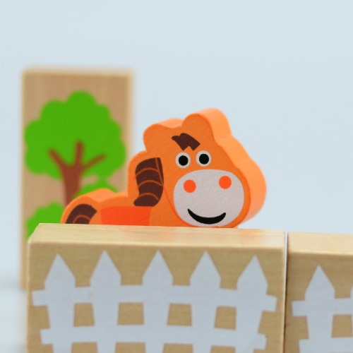 Wooden toy, 50pcs farm building blocks 3