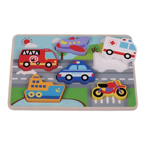 Wooden toy, chunky traffic puzzle 2