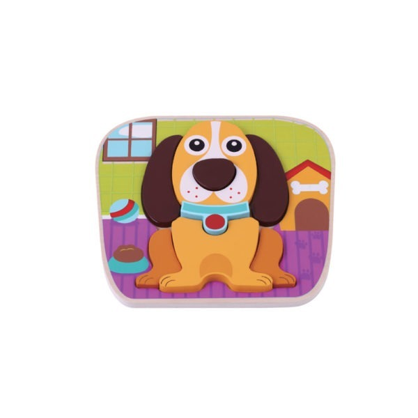 Wooden toy, raised dog puzzle 1