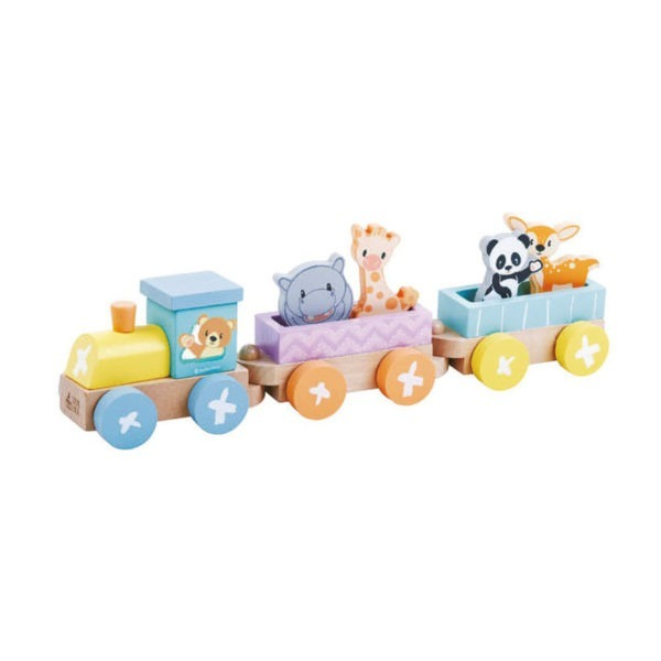 Wooden toys, studio circus, pastel range, animal train set 1