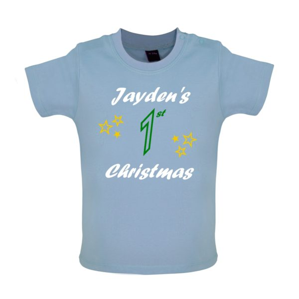 Blue Baby Tshirt, Personalised 1st Christmas, Olivers 1st christmas