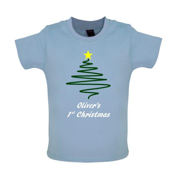 Blue Baby Tshirt, Tree, Personalised 1st Christmas, Olivers 1st christmas