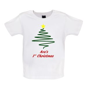 White Tshirt, Tree, Personalised 1st Christmas, Avas 1st christmas