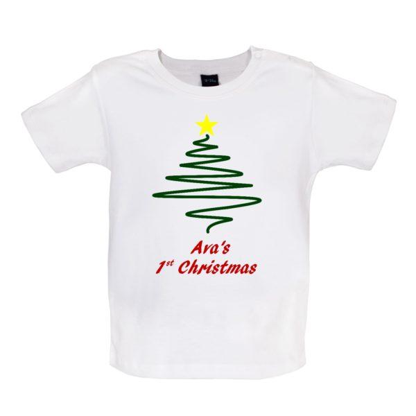 White Tshirt, Tree, Personalised 1st Christmas, Avas 1st christmas