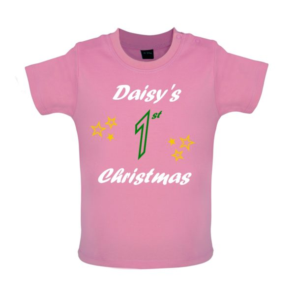 pink Baby Tshirt, Personalised 1st Christmas, Daisys 1st christmas