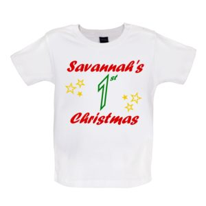 white Baby Tshirt, Personalised 1st Christmas, Savannahs 1st christmas