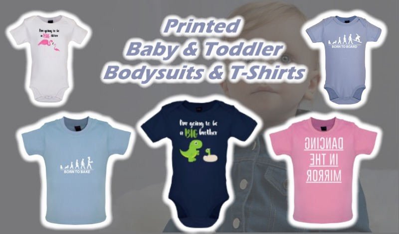 Baby and toddler babygrows and T-shirts