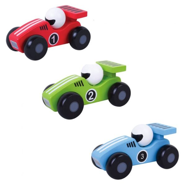 Wooden push along toy racing cars 1