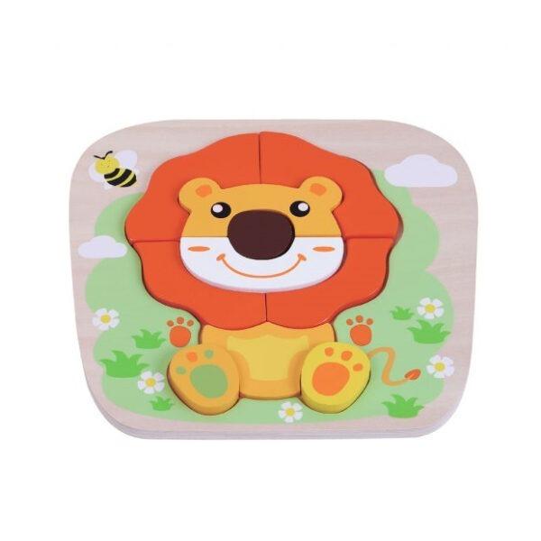 Wooden toy raised lion puzzle