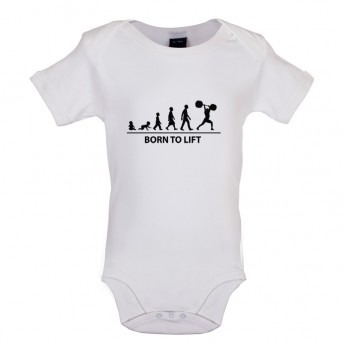 Born to Lift Baby Bodysuit, White